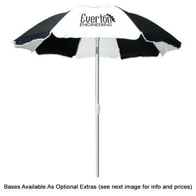 SP90BGP Piha 1.8m Polyester Logo Beach Umbrellas With Aluminium Frame & Fibreglass Ribs