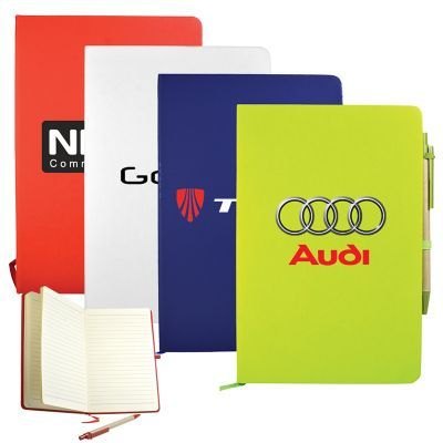 T927 Recycled Cardboard Cover Personalised Enviro Notepads With Coloured Vinyl Wrap And Elastic Band