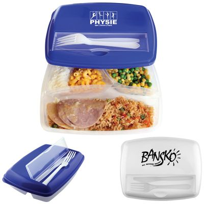 T980 Triple Partitioned Custom Food Containers With Fork And Knife