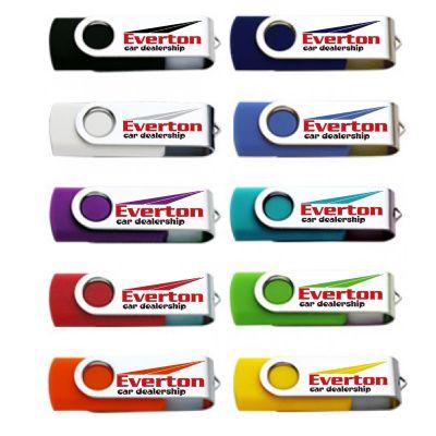 U07-16G Stainless Swivel 16 Gig Custom USB Flash Drives With Rubberised Body