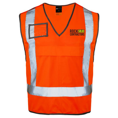W7 Railway Pull Apart Custom High Vis Vests With Reflective Tape & Full Colour Branding - On Special