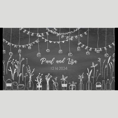 WD105 Chalkboard Sketch Wedding Stubby Holders