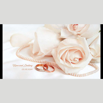 WD120 Pearl Rings And Flowers Wedding Stubby Holders