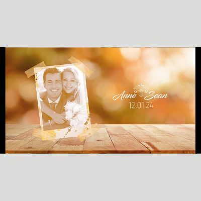 WD161 Sepia Photo Frame Wedding Stubby Holders