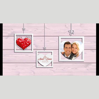WD182 Photo Frame And Heart Wedding Stubby Holders