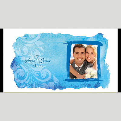 WD216 Blue Watercolour Wedding Stubby Holders