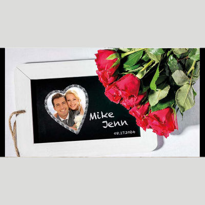 WD232 Photo Frame With Roses Wedding Stubby Holders
