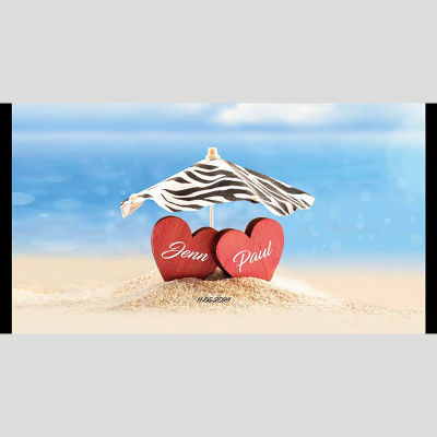 WD94 Beachside Hearts Wedding Stubby Holders