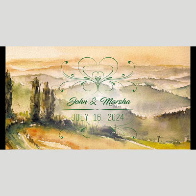 WD98 Painted Landscape Wedding Stubby Holders