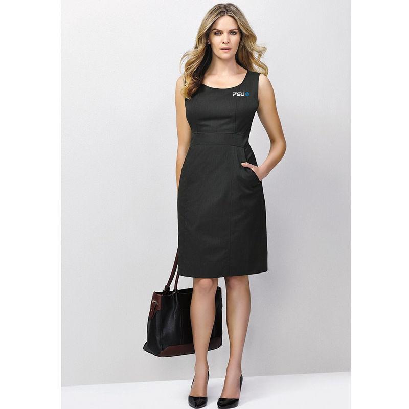 30111 Ladies Side Zip Plain Branded Dresses