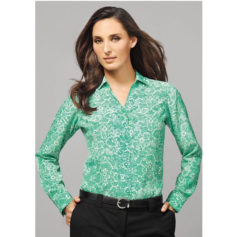 40510 Ladies Solanda Print Uniform Corporate Shirts