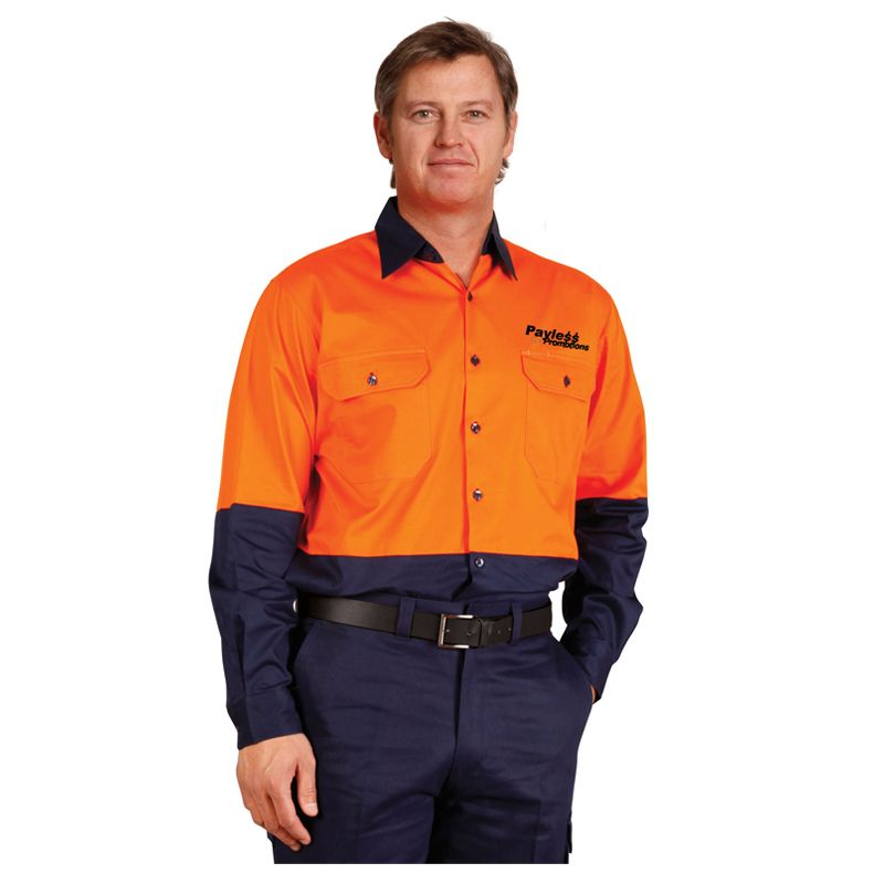 SW58 Cotton Long Sleeve Branded Hi Visibility Shirts