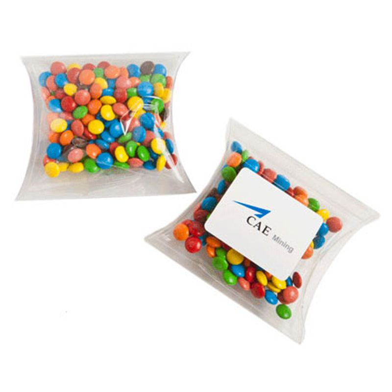 CC018I2 Mini M&M (Mixed Colours) Filled Pillow Pack Branded Lolly Bags - 50g