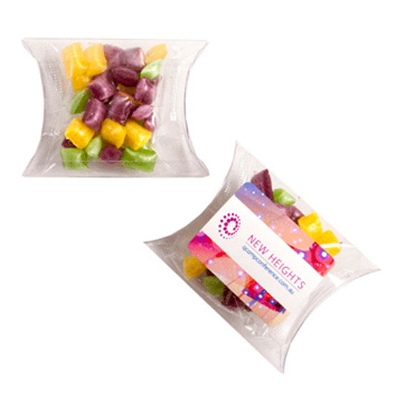 CC018K2 Corporate Coloured Humbugs Filled Pillow Pack Branded Lolly Bags - 20g