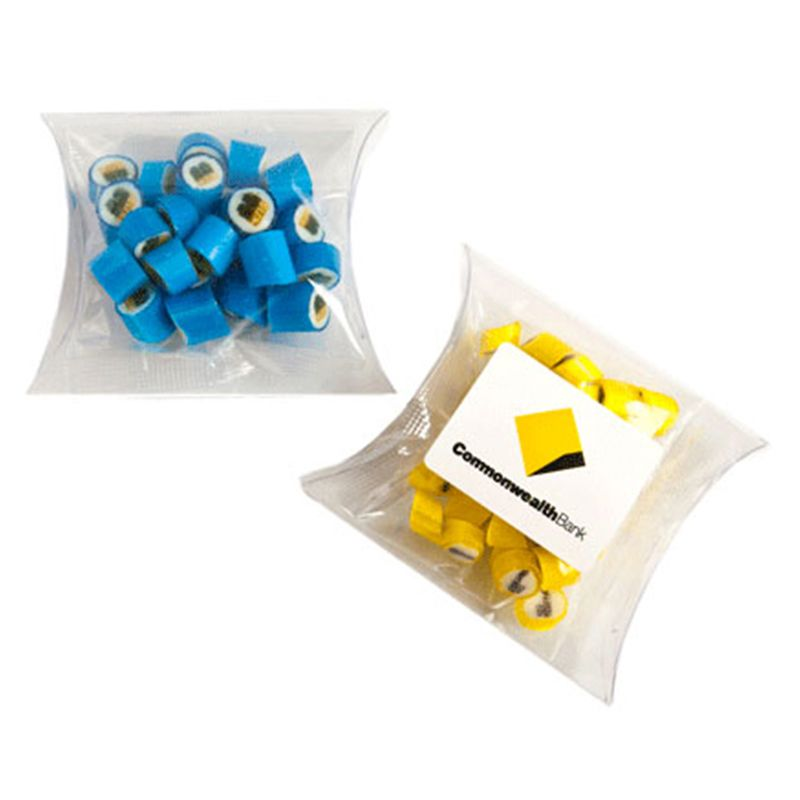 CC018P2 Rock Candy Filled Pillow Pack Logo Lolly Bags - 40g