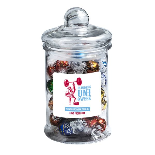 CC068C2 Lindt Lindor Ball Filled Glass Custom Jars x 40