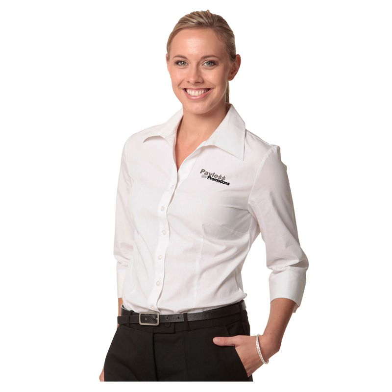 M8020Q Ladies Comfort Embroidered Button-Up Shirts With Stretch - Benchmark Range