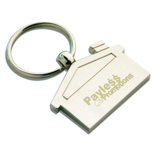 K25 House Shaped Engraved Metal Keyrings With Gift Box