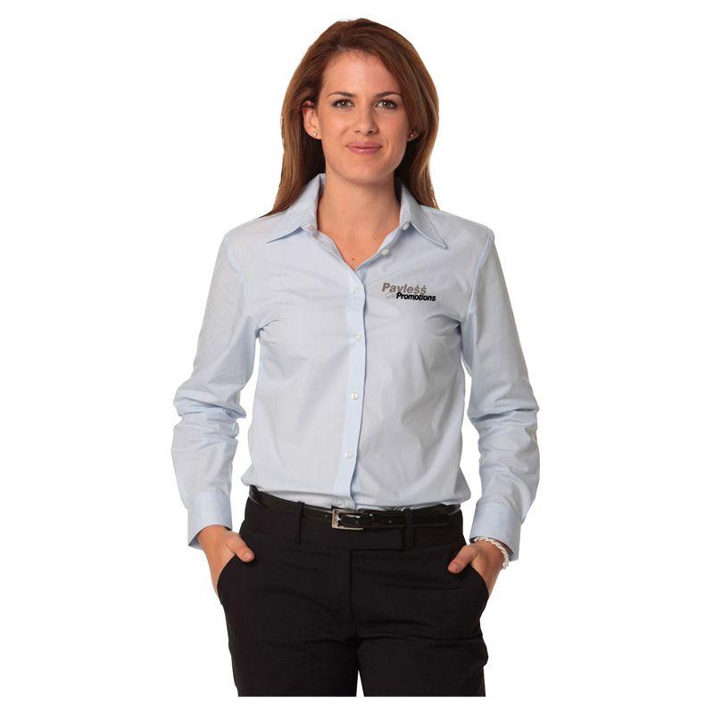 M8212 Ladies Fine Stripe Embroidered Button-Up Shirts - Benchmark Range