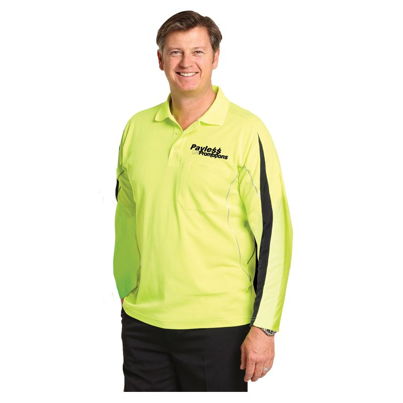 SW33A TrueDry Long Sleeve Branded High Vis Polos With Reflective Piping