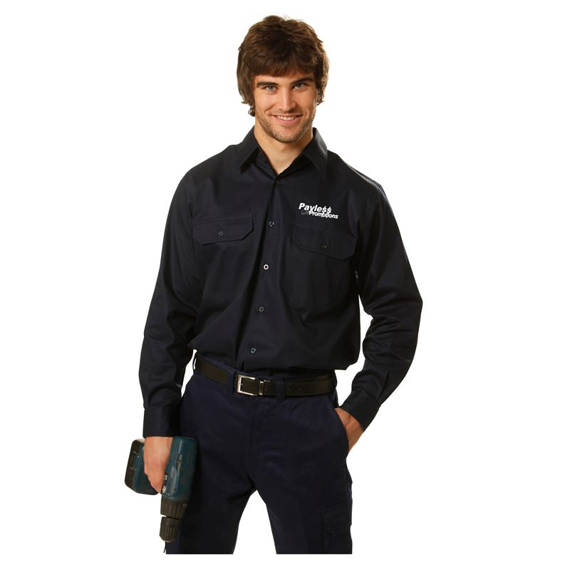 WT02 Cottton Long Sleeve Printed Workwear Shirts With Underarm & Yoke Mesh