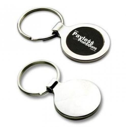 K24 Black-Centred Circular Promotional Metal Key Rings With Gift Box
