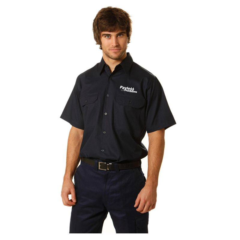 WT03 Cotton Drill Short Sleeve Embroidered Work Wear Shirts