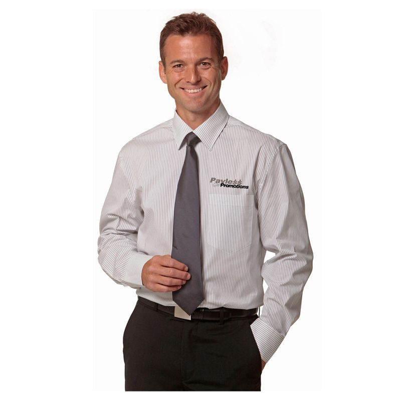 M7200L Ticking Stripe Embroidered Corporate Shirts With Stretch - Benchmark Range