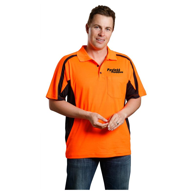 SW25 Mens TrueDry Short Sleeve Safety Logo High Vis Polos