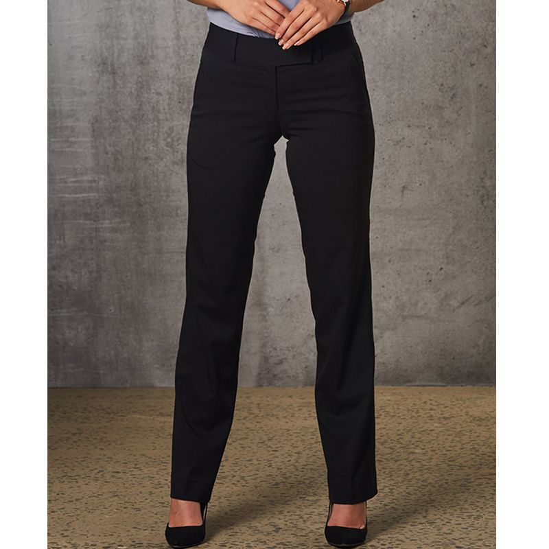M9420 Ladies Poly/Viscose Low Rise Embroidered Corporate Pants With Stretch