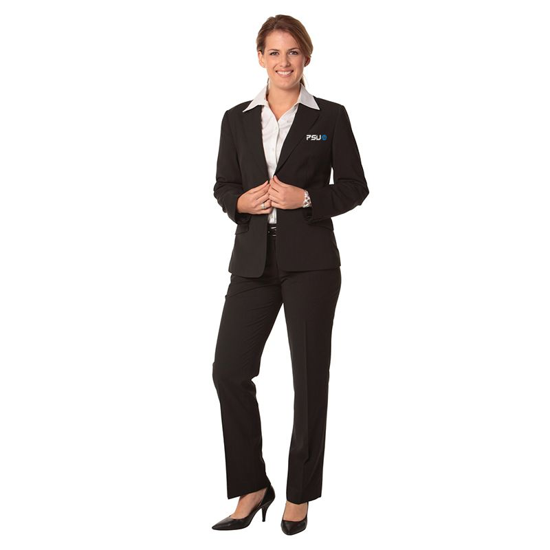 M9430 Ladies Poly Viscose Low Rise Stripe Embroidered Corporate Slacks With Stretch