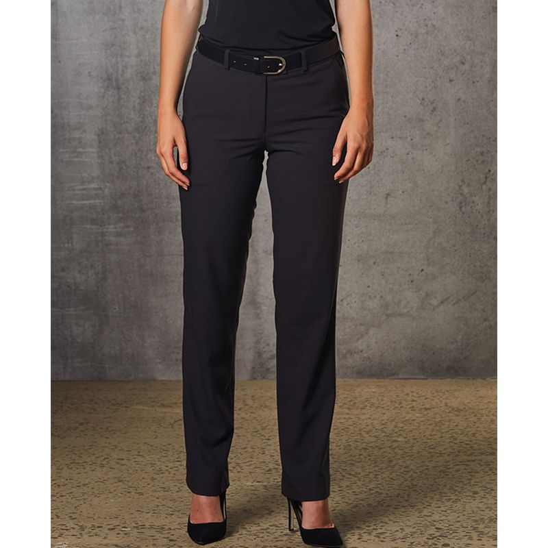 M9440 Ladies Poly/Viscose Embroidered Corporate Pants With Stretch & Adjustable Waist