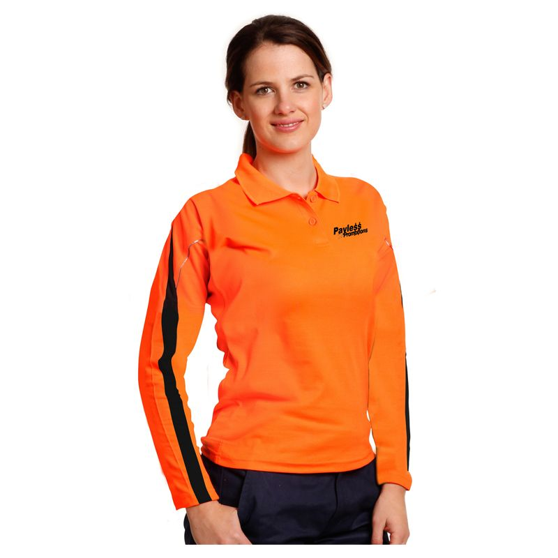 SW34A Ladies TrueDry Long Sleeve Custom Hi Visibility Polos With Reflective Piping