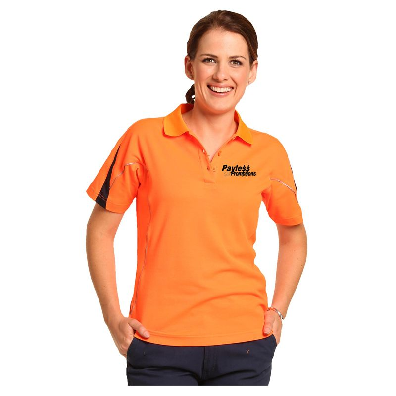 SW26A Ladies TrueDry Custom High Vis Polos With Reflective Piping