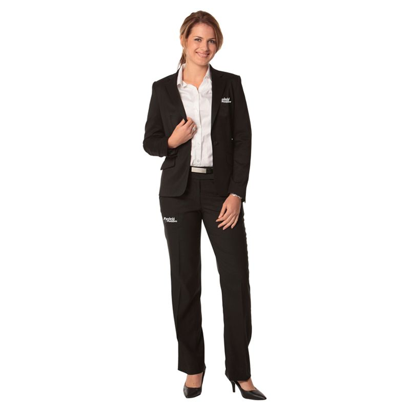 M9205 Ladies Poly/Viscose Single Button Cropped Embroidered Suit Jackets With Stretch