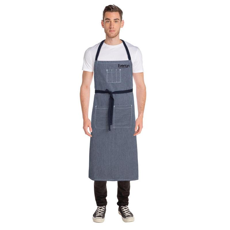 AB038 Denim Striped Large Chef Bib Custom Aprons