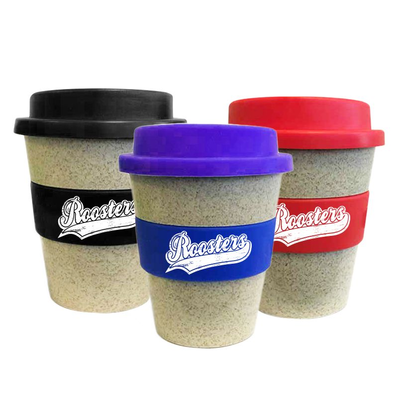 BCC350SSY 350ml Bamboo Colour Change Band Customised Travel Coffee Cups With Soft Silicon Lid