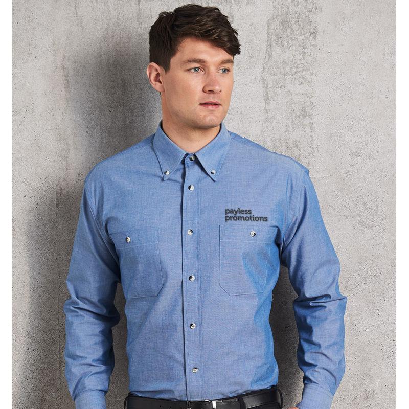 BS03L Chambray 'Wash 'n' Wear' Long Sleeve Uniform Corporate Shirts