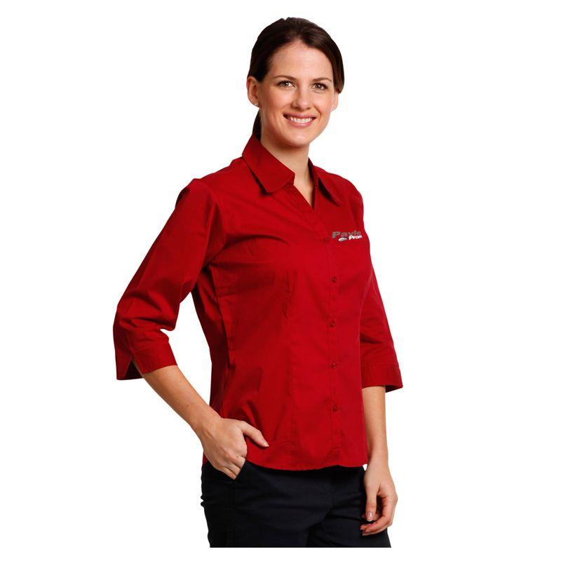 BS07Q Ladies Teflon 'Easy-Care' Logo Dress Shirts With Stretch