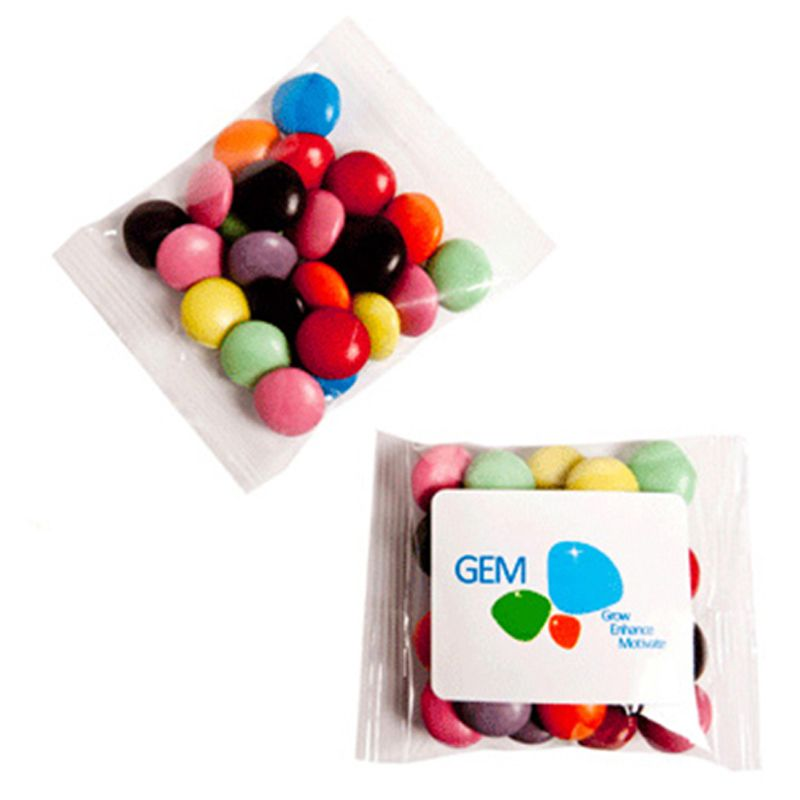 CC017A6 Smarties Look-Alike (Corporate Colours) Filled Promo Lolly Bags - 25g