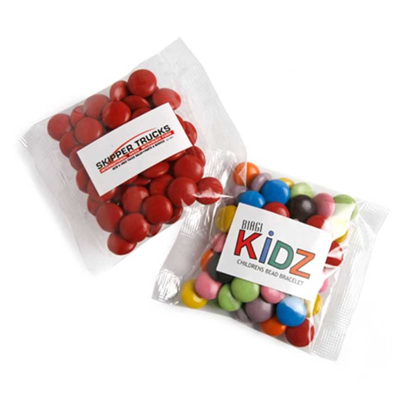 CC017B6 Smarties Look-Alike (Corporate Colours) Filled Promo Lolly Bags - 50g
