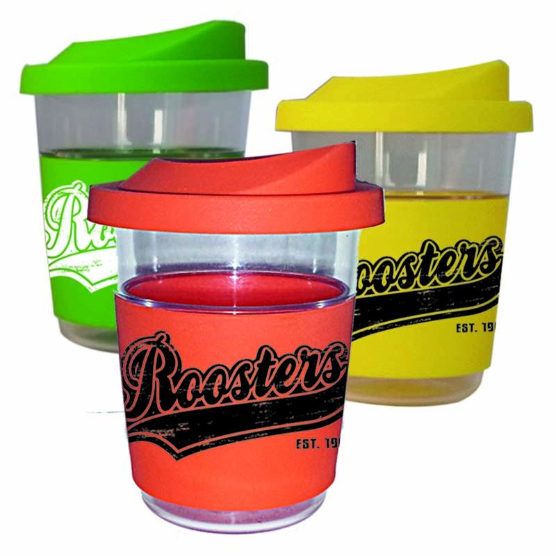 CC220 Clear Tritan 220ml Printed Re-usable Coffee Cups With Soft Silicon Lid