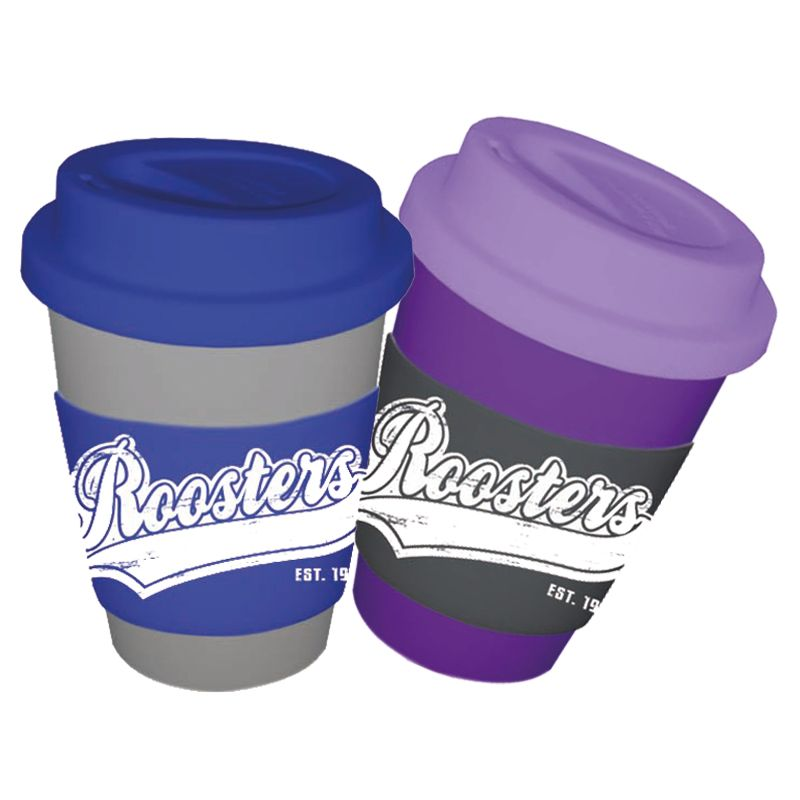 CC350SSWB-M Metallic 350ml Wide Band (55mm) Promotional Carry Cups With Soft Silicon Lid