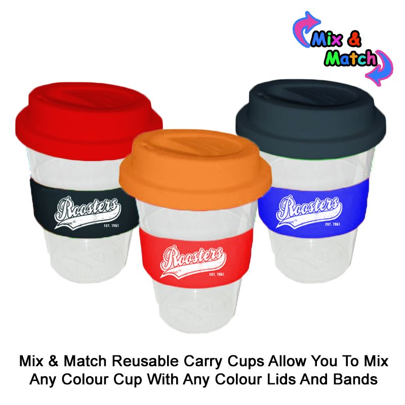 TCC350SSY 350ml Colour Change Band Printed Carry Cups With Soft Silicon Lid