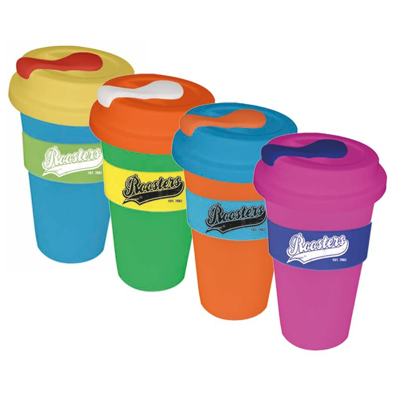 CC450SLSP 450ml Custom Re-usable Coffee Cups With Solid Lid and Soft Silicon Seal Plug