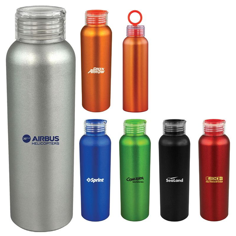 D112 Aland Custom Aluminium Drink Bottles With Flip Opening Holder - 600ml