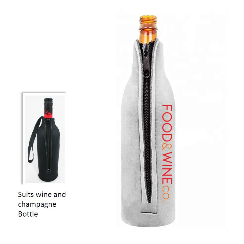 EWS08 Wine Bottle Personalised Zipped Stubby Holders - Full Photo Print (Made Local & Fast)
