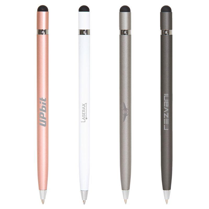 F432 Infinity Twist Action Custom Metal Pens With Stylus Tip