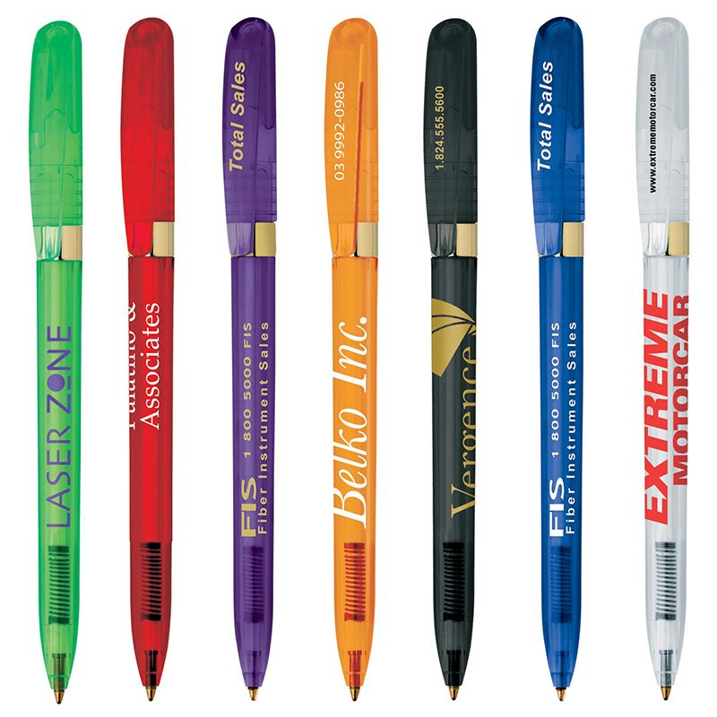 G1200 Pivo Clear Gold Printed Bic Pens