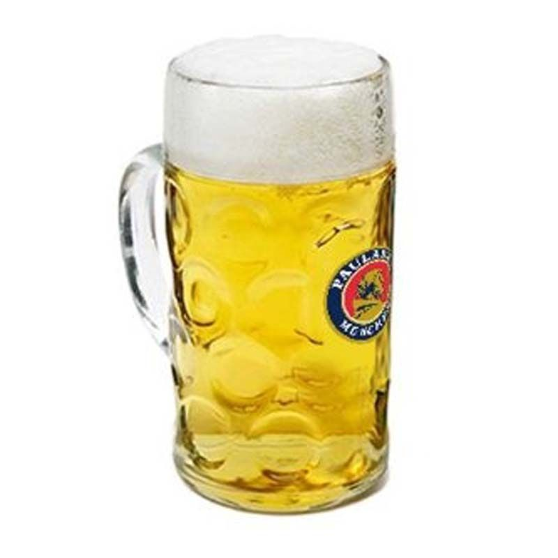GLBMISAR1L 1 Litre Isar Stein Promotional Glass Beer Mugs With Print Panel